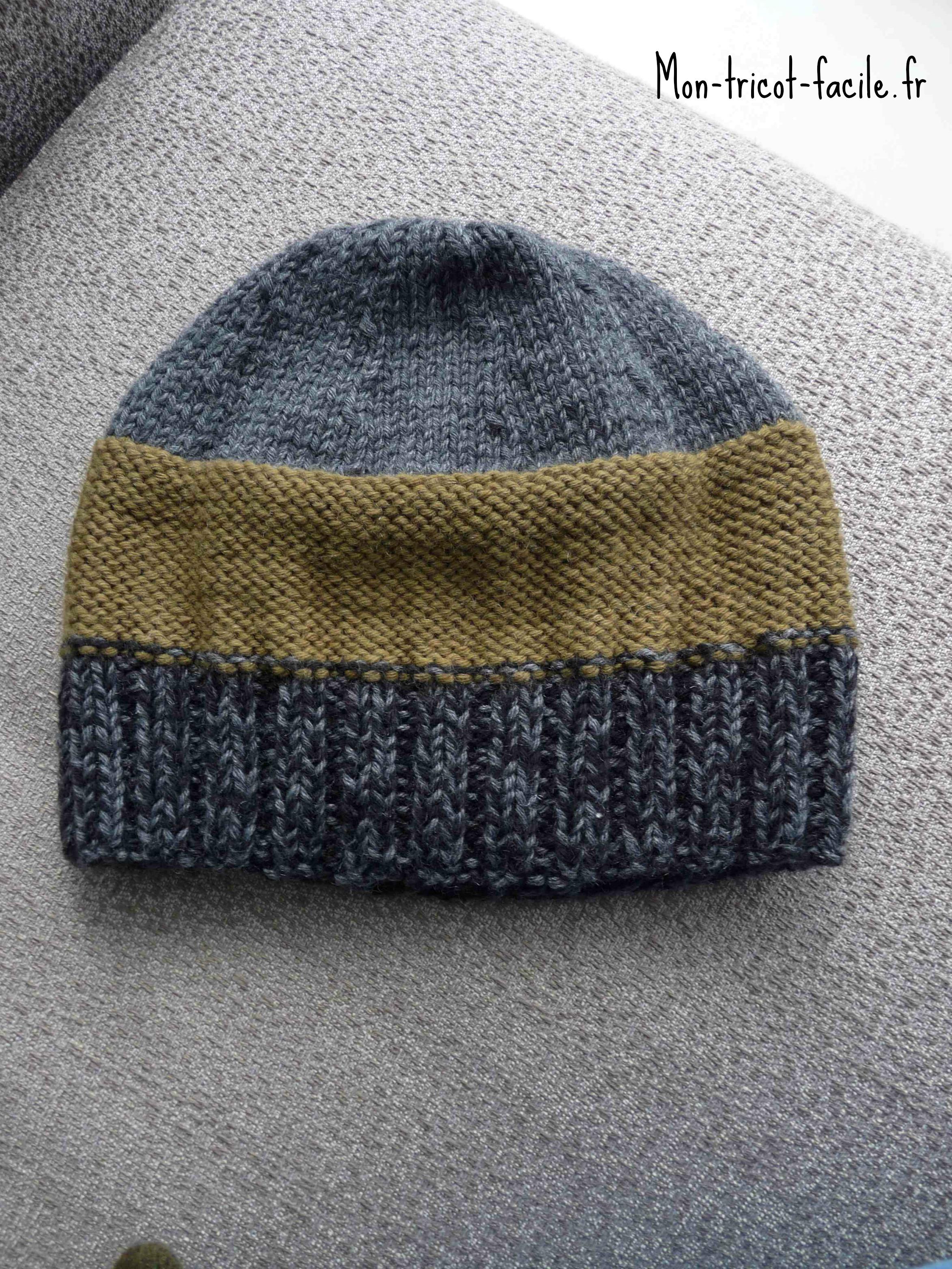 Bonnet homme tricot - Modele de bonnet a tricoter facile ...