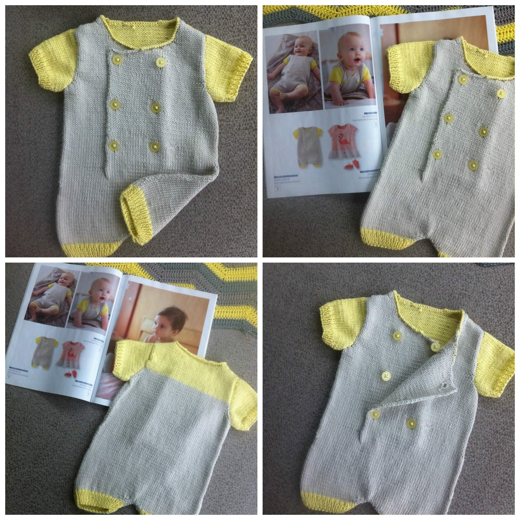 Tricot layette : une combinaison pour bébé
